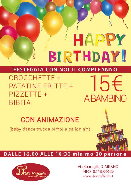 Immagini Compleanno Bimbi.Menu Compleanno Bimbi Don Rristoranti Trattoria Pizzeria A Milano